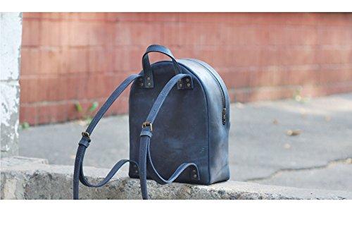 Mini Leder Rucksack blau. Saddleback Rucksäcke. Handgefertigte Geldbörse für Frau