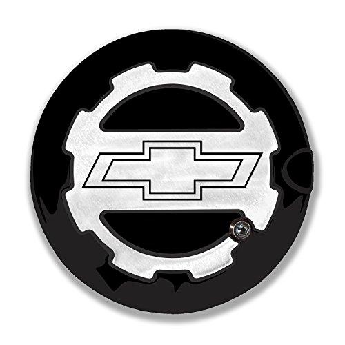 American Brother Designs ABD-1306BTLGGBA Black Gloss OEM Paint Silverado (Bowtie Logo) Locking Fuel Door Line Grained Two Toned