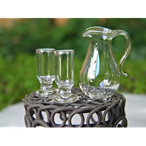 Unrand Miniature Dollhouse FAIRY GARDEN Accessories Glass Pitcher &amp, 2 Glasses by I.E.Y.online-store