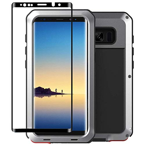 Galaxy Note 8 Case,Tomplus Armor Tank Aluminum Metal Shockproof Military Heavy Duty Protector Cover Hard Case for Samsung Galaxy Note 8 (Silver)