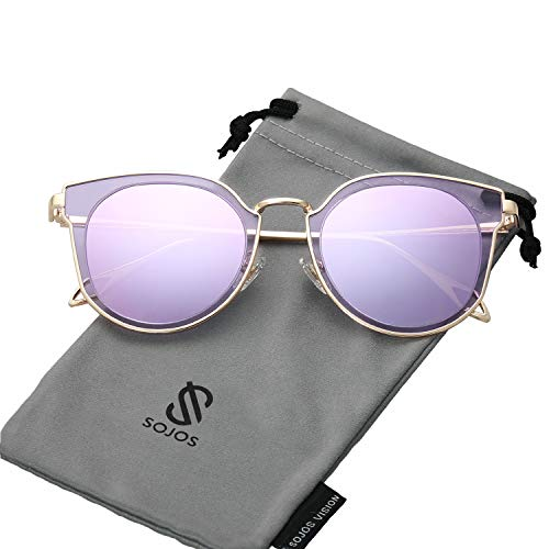 SOJOS Fashion Polarized Sunglasses for Women UV400 Mirrored Lens SJ1057 with Gold Frame/Purple Mirrored Polarized Lens -