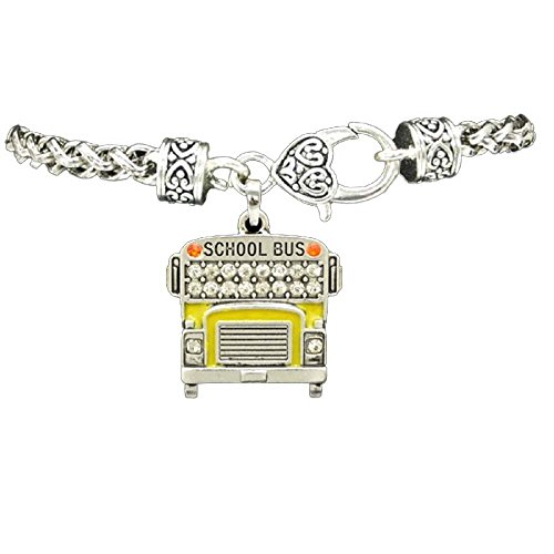 YELLOW SCHOOL BUS Charm Bracelet in Embellished with Clear Crystal Rhinestones.Heart Lobster Claw Clasp.Gift Boxed