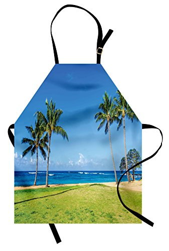Ambesonne Hawaiian Apron, Coconut Palm Trees and Lawn on The Sandy Poipu Beach in Hawaii Kauai Picture Print, Unisex Kitchen Bib with Adjustable Neck for Cooking Gardening, Adult Size, Blue Green (Best Beaches In Kauai)