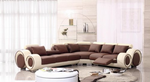 4087 Beige & Brown Leather Sectional Sofa With Built-in Footrests