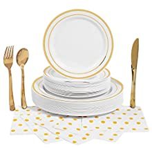 180 Piece - Dinnerware Party Plastic Supplies Set - Serves 30 | Gold Trim | Disposable - 30 Plates, 30 Salad/Dessert/Appetizer Plates, 30 Spoons, 30 Forks, 30 Knives, 30 3-Ply Napkins - By Meeywood