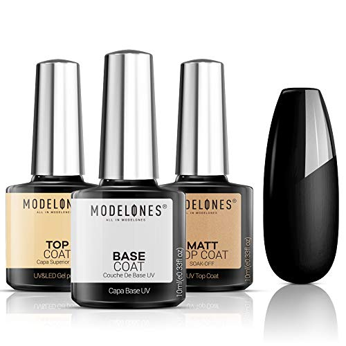 Modelones Matte Top Coat Base Coat for Gel Nail Polish, 3Pcs No Wipe Top Coat, Long Lasting High Gloss Shiny and Matte Effects DIY at Home, 10ml Each Bottle