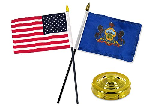 ALBATROS Pennsylvania State with USA America American Flag 4 inch x 6 inch Desk Set Table with Gold Base for Home and Parades, Official Party, All Weather Indoors Outdoors]()