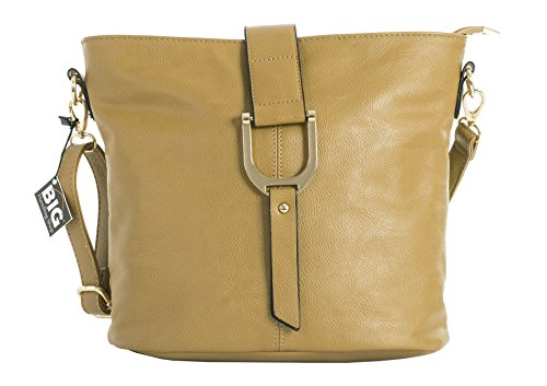 (Big Handbag Shop Womens Faux Vegan Leather Bucket Style Cross Body Shoulder Bag (Camel))