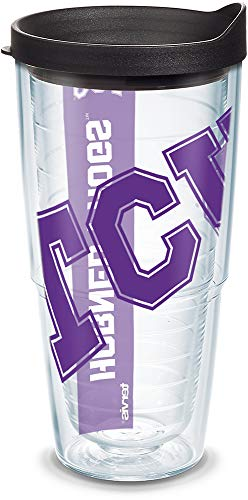 (Tervis 1093477 TCU Horned Frogs Colossal Tumbler with Wrap and Black Lid 24oz, Clear)