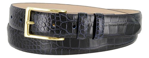 Adam Gold Men's Genuine Italian Calfskin Leather Dress Belt (42, Alligator Navy)