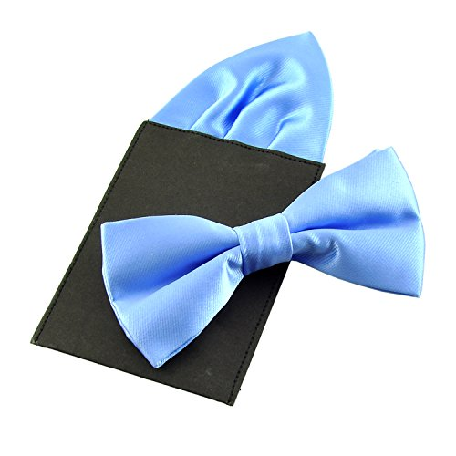 PenSee Mens Silk Solid Pre-Tied Bow Tie & Hanky Card Set - Various Colors (Sky Blue ()