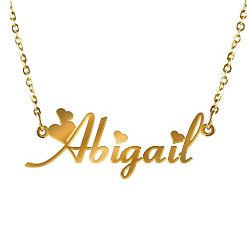 855568a8b AIJIAO Personalized Nameplate Necklace Pendant My Name Custom of Stainless  Steel for Women/Men Gift