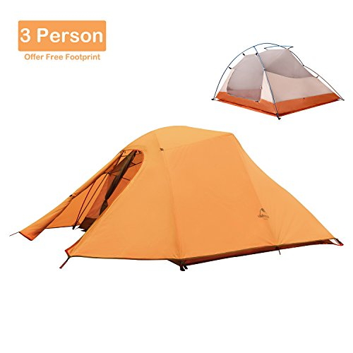 Topnaca 2-3 Person 4 Seasons Double Layer Backpacking Tent, Free Offer a Groundsheet, Aluminum Rod Anti-UV Windproof Waterproof, for Camping, Hiking, Travel, Hunting (Orange-3 Person)