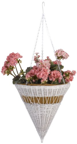 DMC Products 14-Inch Cone Resin Wicker Hanging Basket with Chain Hanger, White