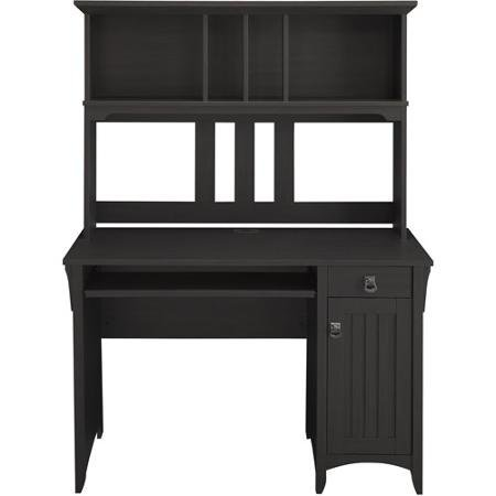 Bush Desk Mission - Elegant Traditional Mission Style Computer Desk and Hutch, Black Finish
