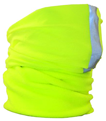 Ladies Womens Yellow Part Fleece Hi Viz Florescent Reflective 3M Scotchlite Striped Multi Function Hair Band Neck Warmer Scarf Headband Balaclava Beanie Head Cap Site Workwear Bike Bicycle by ProClimate