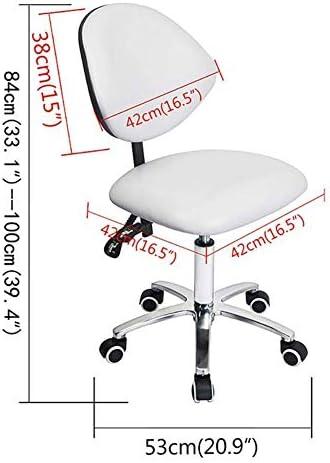 LMEIL Tabouret réglable médical de Docteur, Chaise de tâche PU Bas Dossier nervuré sans Bras pivotant Blanc Chaise de Bureau Chaise de Bureau Roues