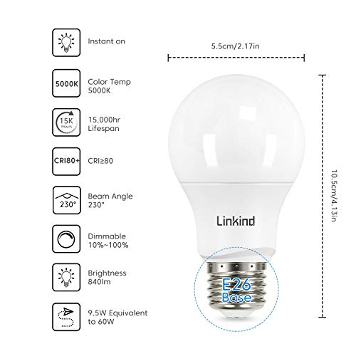 Linkind Dimmable A19 LED Light Bulbs, 60W Equivalent, E26 Base, 5000K Daylight, 9.5W 840 Lumens 120V, UL Listed FCC Certified, Pack of 12