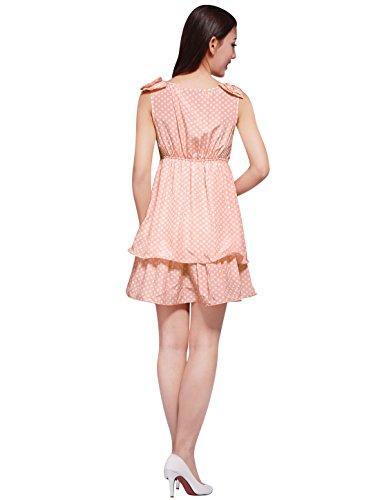 Allegra Femmes K Points Ramassent Sans Manches À Col Plissé Lumière Mini-robe Rose En Couches