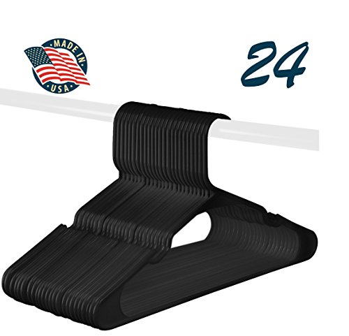 Black Plastic Standard Hangers, Notched, Set of 24