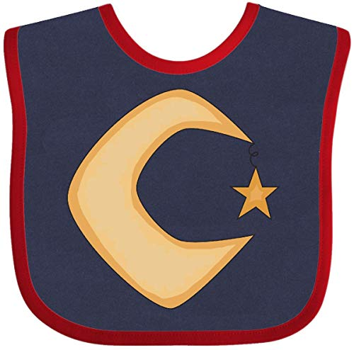 - Inktastic - Crescent Moon Baby Bib Navy and Red 5c84