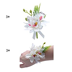 Silk Flower Arrangements ChicChic Silk Fabric Rose Boutineers for Men Wedding Handmade Corsage Classic Artificial Groom Flowers Brooch with Pin Bridesmaid Corsages for Wedding Prom Party