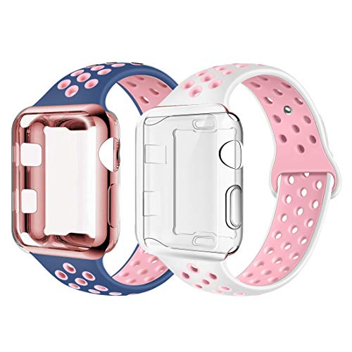 ADWLOF Compatible with Apple Watch Band with Case 44mm, Silicone Replacement Strap with Screen Protector Cover for Wristband for iWatch Series 4, Nike+, Sport, Edition,S/M,M/L,BluePink/WhitePink