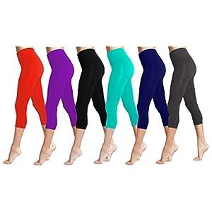 Lush Moda Seamless Capri Length Basic Cropped Leggings - Variety of Colors - Six-Pack (Black, White, Ch Grey, Navy, Purple, Red)
