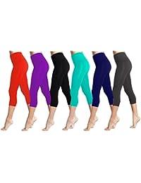 Lush Moda Seamless Capri Length Basic Cropped Leggings -...