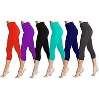Lush Moda Seamless Capri longitud Basic Cropped Leggings–Variedad de colores