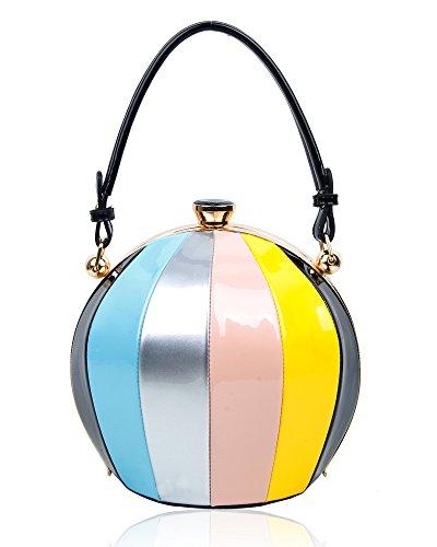 22x21x17 Black cm Shape Clutch Size Patent bag Diamante Women's Handbag Leather Ball Clasp Shinny Shoulder Un7FR