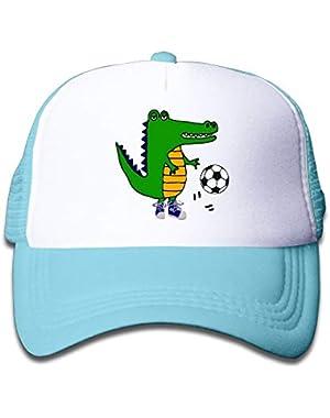Funny Alligator Playing Soccer On Children's Trucker Hat, Youth Toddler Mesh Hats Baseball Cap