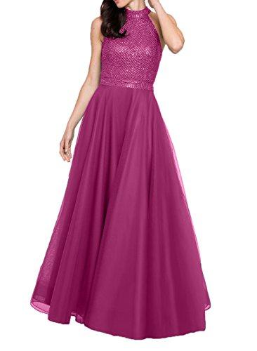 Langes Damen Fuchsia Luxurioes Steine Brautmutterkleider Brautmutterkleider Abendkleider Linie Ballkleider A Festlichkleider Charmant qg4ZwUtxnU