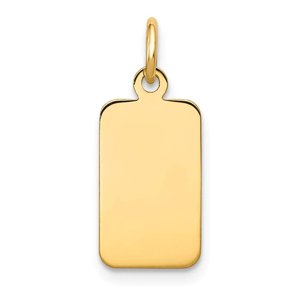 14K Solid Yellow Gold Plain .009 Gauge Engravable Rectangular Disc Charm 21mm x 8mm