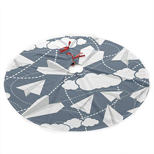 HDKOAJH 35 Inch Christmas Tree Skirts with Paper Planes in Clouds Pattern for Xmas Holiday Decorations ()
