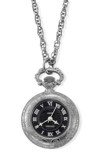 Gotham Women's Antique Style Silver-Tone Quartz Fashion Pendant Watch # GWC14332SBR Quartz Silver Pendant Watch