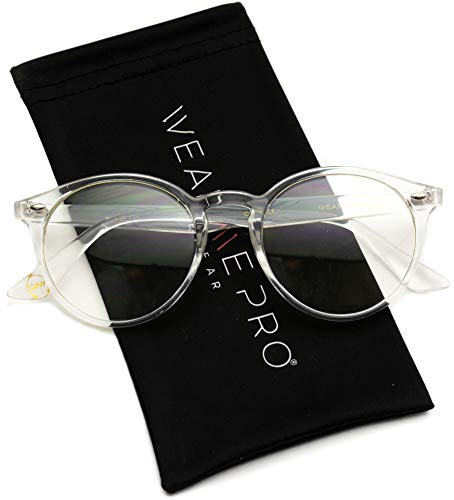 WearMe Pro - Transparent Clear Frame Round Hipster Glasses