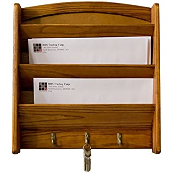 Home Basics Pine Letter Rack with Key Hooks
