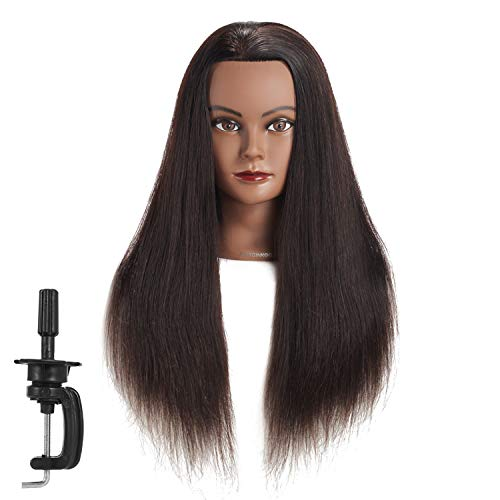 Hairginkgo Mannequin Head 24-26 Human Hair Manikin Head Hairdresser Training Head Cosmetology Doll Head for Styling Dye Cutting Braiding Practice with Clamp Stand (92018B0218)