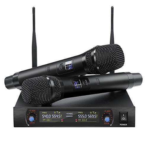 NASUM UHF Dual Channel Professional Handheld Wireless Microphone System with Dual Wireless Dynamic Microphones,LCD Display Professional Home KTV Set for Party,Meeting,Karaoke,Classroom