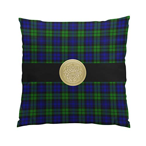 Wesbin Black Watch Tartan Plaid with Celtic Knot Plush Hidden Zipper Home Sofa Decorative Throw Pillow Cover Cushion Case Inch 20x20 Square Two Sides Design Printed Pillowcase