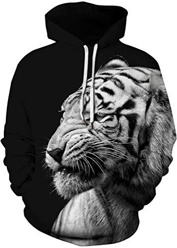 FLYCHEN Men's Digital Print Sweatshirts Hooded Top Galaxy Pattern Hoodie Tiger SM ()