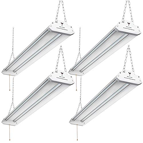 Utility Linkable LED Shop Light 4FT, Aluminum Housing, 42W 4500LM 5000K Daylight White, with Pull Chain (ON/Off) Linear Worklight Fixture with Plug cETLus Listed, (Fluorescent Linear Pendant)