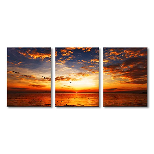 Golden Sunrise 3 Panels Modern Seascape Painting on Canvas Wall Art Prints Gallery Wrapped Artwork - 3 Panel Wall