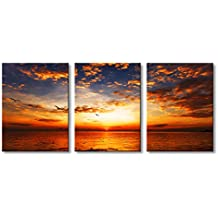 Golden Sunrise 3 Panels Modern Seascape Painting on Canvas Wall Art Prints Gallery Wrapped Artwork