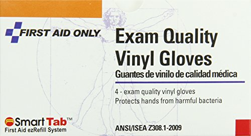 First Aid Only Gloves, Disposable Exam Quality Vinyl, 4-Count (2 Kit Care Vinyl Gloves)