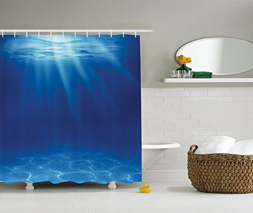 Ambesonne Ocean Decor Collection, Deep Sea Underwater with Pebbly Sandy Mixed Bottom Surface and Sun Beams Coming from Surface Picture, Polyester Fabric Bathroom Shower Curtain, Navy Blue