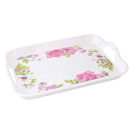 eDealMax melamina estampado de flores de cocina de forma rectangular taza de café servida bandeja
