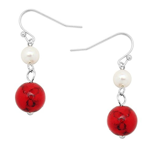 Falari 10mm Round Natural Stone Earring Mother of Pearl High Polished Rhodium Red-Turquoise ()