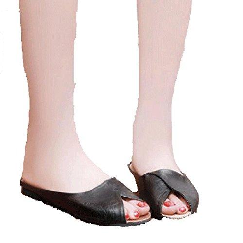 Bovake Summer Women Sandals, Dew Toe Cool Slippers Flat Bottom Comfort Home Tide Ladies - Peep-Toe Low Shoes Roman Sandals Bohemia Flip-Flop Beach Beads Wedges Lovely Footwear Flop Sandal Black